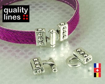 Silver hook clasp for leather flat hole 10mm / 2mm bracelet