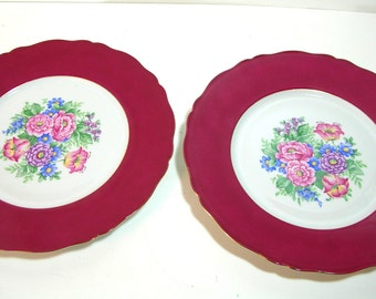 Decorative Floral China Plates, Burgundy Borders, Czechoslovakia
