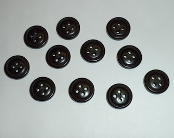 "Vintage Dark Brown Matte 4-hole 1/2"" Grooved Button -- 36 pcs   (B416)"