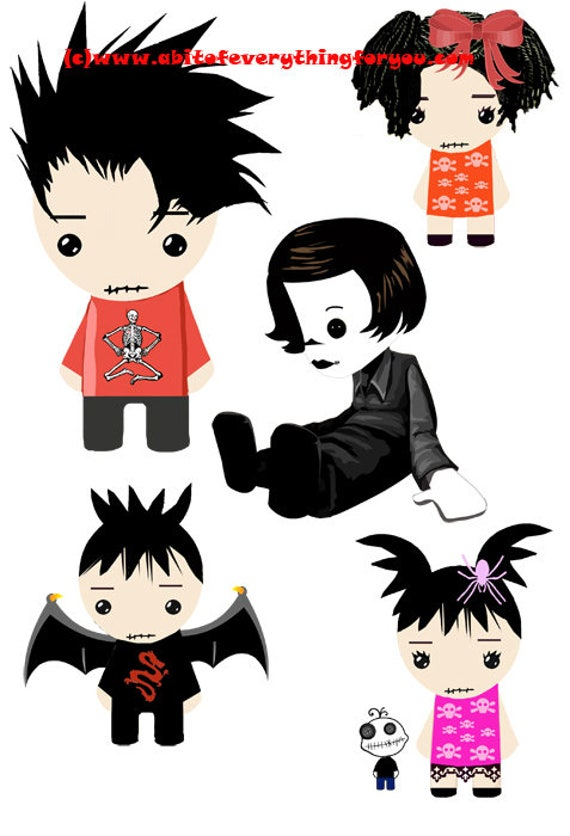 goth rag dolls cartoon clipart die cuts craft cut outs goth kids halloween digital download graphics images printables