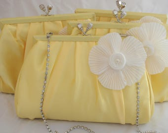 Yellow Bridesmaid Clutches, Set of 4 Bridesmaid Clutches, Yellow and White Bridesmaids, Yellow Wedding Bags, Yellow Evening Clutch, Gifts