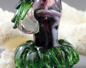Lampwork Glass Goddess Focal Bead, Hula Girl Bead, glass female form, goddess bead, miniature goddess, Hawaiian  dancing girl bead