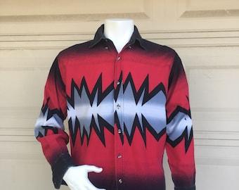 Vintage Men's Western Shirt 90s Express Rider in Red & Black Size Medium