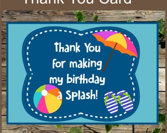 Pool Party Printable Thank You Card / Instant Download / Swimming Party Thank You Note / Kids Birthday Party
