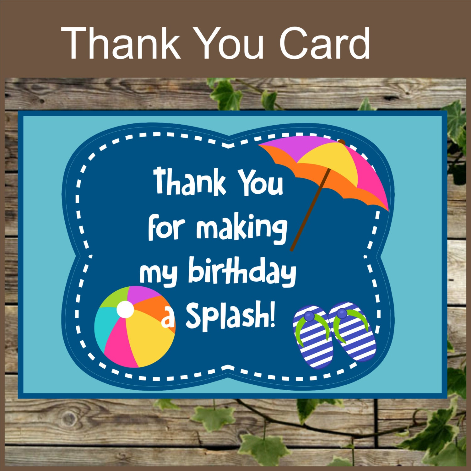 Pool party printable thank you card instant download zoom kristyandbryce Image collections