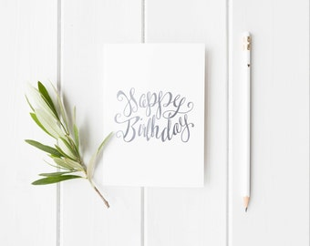 Silver Foil 'Happy Birthday' Greeting Card