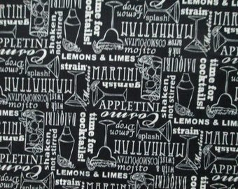 Cocktail Words Names Martini More Black White Cotton Fabric Fat Quarter Or Custom Listing