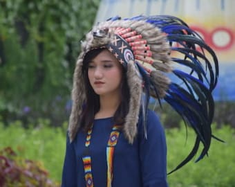 Chief Indian Festival Clothing Double Feather Headdress Cool Blue Warbonnet Headband Headgear Costume Native American Style Costume