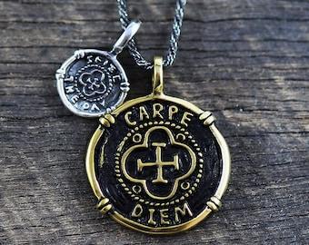 Carpe Diem Necklace Mens Necklace Mens Jewelry Carpe Diem Pendant Men's Necklace Mans Necklace Mens Silver Necklace Gold Necklace