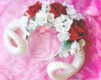 handmade ''frozen'' Ram goat headband with crown skulls, headpiece, flower crown Soft Grunge, kawaii,harajuku,nugoth, Pastel Goth