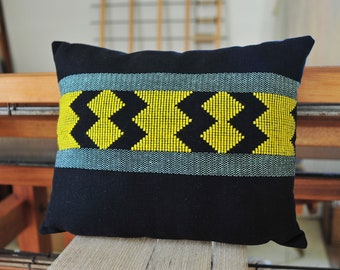 Handwoven cushion cover / Cotton Linen Wool / Weaving