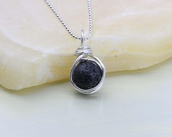 Lava Stone Necklace, Volcanic Lava Pendant, Essential Oil Diffuser Necklace, Sterling Silver, Gift for Her, Free Oil Sample with Purchase