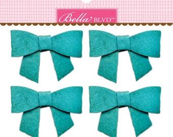 Bella Blvd Color Chaos Bella Bows, Pack of 4 Self-Adhesive Felt Bows - Gulf