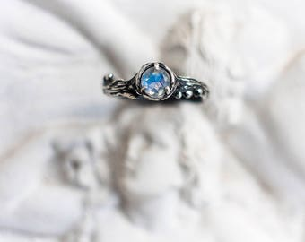 """Engagement White Gold Rainbow Moonstone Ring """"Amore"""". Natural Moonstone, Wedding Ring, Gentel Ring,Branch Ring, MADE TO ORDER"""