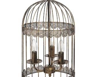 Black Birdcage Chandelier with Gold Brush Effect  - 16178