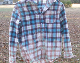 Distressed flannel plaid shirt - recycled bleached dipped splattered unique - vintage worn style - Size L 10-12 (youth / unisex) (#S51)