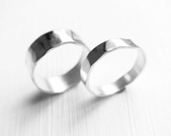 Stone Rings - Promise Ring Set - Matching Rings - Wedding Bands - Wedding Rings - Silver Couple Rings - Matching Promise Rings -Couple Rings