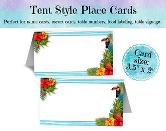 12 Tent Style Place Cards, Buffet Food Label Cards, Name Cards, Hawaiian, Tropical, Hibiscus Flowers, Pineapple, Luau, Pool Party, Summer