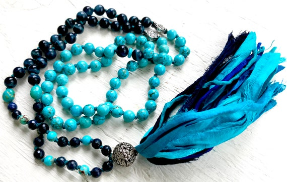 Mala Beads for Prosperity and Protection , Blue Tiger Eye, Magnesite, Victory Banner, 8 Auspicious Symbols, Buddhism, Yoga Jewelry