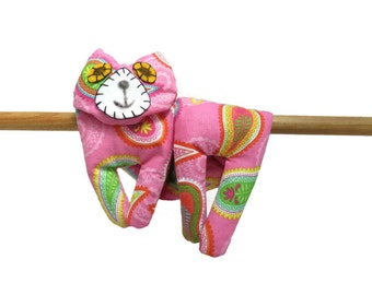 Flat Cat, Hot Cold Rice Bag, Microwave Neck Wrap, Rice Heating Pad, Hot Cold Therapy Pack, Pink Yellow Green Orange Blue #1 , Cat Lover Gift