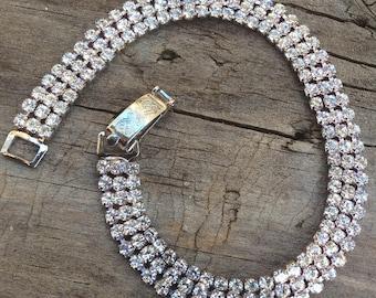 Vintage Rhinestone Bracelet 17cm Silver Plated
