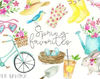 Watercolor Spring Clipart   Spring Clip Art - Flowers - Spring Fashion - Watering Can, Bird, Rabbit, Bicycle, Gardening - Instant Download