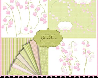 Flower digital paper spring digital flower clipart frame border clip art, Lily of the Valley scrapbooking fairy : c0259 x301