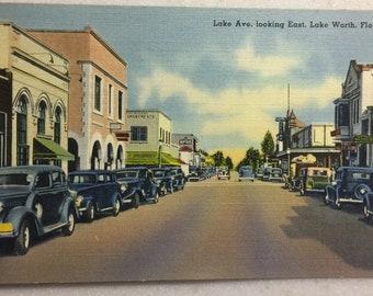 Vintage Postcard Lake Worth Fl Lake Ave looking East 1940's Postcard Mint Linen