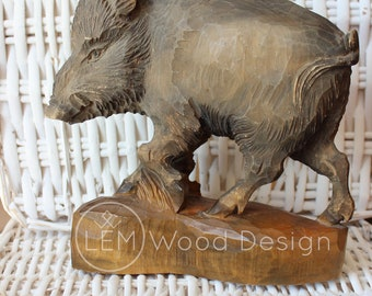 Wooden sculpture of Wild Boar Wood Carving figurine height of 7.9 inches Wild boar wood statue Gift from Ukraine  Carved wood detailed Boar