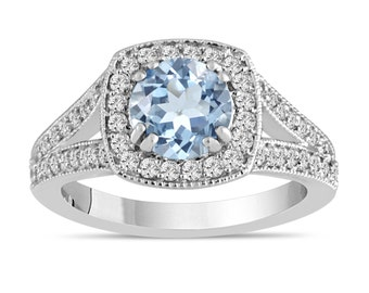 Aquamarine Engagement Ring Aquamarine And Diamond Engagement Ring 1.46 Carat 14K White Gold Bridal Ring Handmade Halo Unique