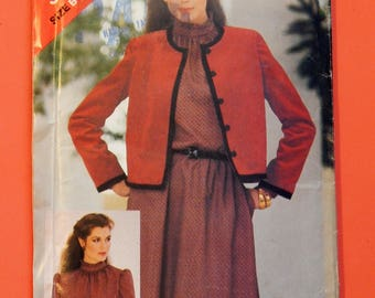 Vintage jacket and dress pattern See & Sew 3834 Lined jacket and pullover dress pattern Uncut Sizes 14, 16 and 18