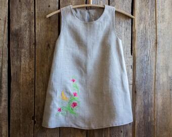 Embroidered Dress, Flower girl dress  Linenislove, Linen dress Summer party dress Toddler dress, Girl clothing,  Handmade girls dress, Dress