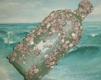 ANTIQUE, Vintage Aqua OCEAN Found Flask Liquor Bottle Encrusted with BARNACLES