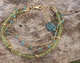 Peridot and Apatite Three Strand Bracelet