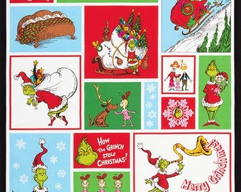 """HOLIDAY by Dr. Seuss Enterprises from How the Grinch Stole Christmas  ADE-16708-223 Fabric 24"""" Panel"""