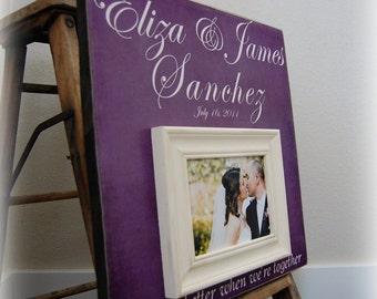 Radiant Orchid, Radiant Orchid Wedding, Wedding Gift, Wedding Frame, Personalized Wedding Frame, Guest Book, Anniversary Gift, 16x16