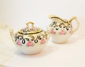 Pink Rose Sugar Bowl/Set/Rose Sugar Bowl/Pink Rose Creamer/Pink Roses/Gold Gilt/Victorian/Cottage Chick/Vintage Rose Sugar Bowl/Rose Design
