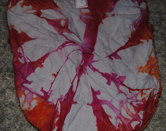Tie Dyed Lunch Sack in Orange, Fushia, and Red in Swirl Pattern