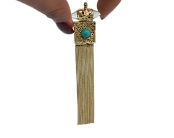 Brass Crystal Point Chain Tassel Pendant with Turquoise Gemstone Accent (S54B3a)