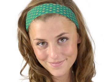 St. Patrick's Day Gold and Green Mini Clovers Fun Soft Skinny Headband One Size