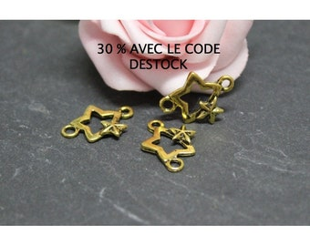 10 small connectors star antique gold metal BR571