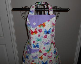 Pastel Butterflies - Women's Apron - Ruffle - Pocket - Butterfly - Bugs