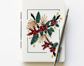 SPRING FLOWERS - Hand embroidered notebook