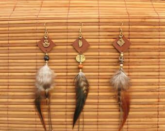Feather earrings - autumn night