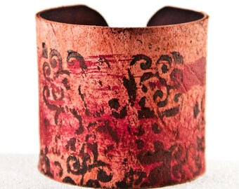 Gift  Earthy Bracelets Leather Cuffs - Leather Wristbands Handpainted Wrist Cuff Bands