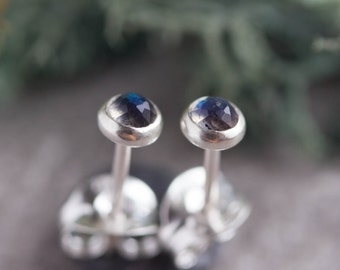Labradorite stud earrings, minimalist dainty stud for everyday, sterling silver, 14k gold filled