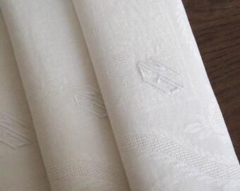 6 Antique Damask Linen GM Monogram Napkins - French Vintage White Linen Napkins