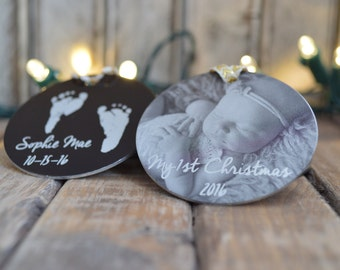 "My First Christmas Photo Ornament -2"" Personalized Christmas Ornaments - Photo, Handwritten, Custom Text -Desgin Your Own -Christmas Gifts"
