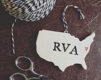 RVA Pottery Ornament - Richmond Virginia