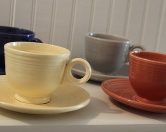 Vintage Original & Fifties Fiesta Ware--Cup/Saucer Sets: YELLOW, ROSE, COBALT